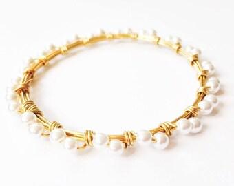 Pearl Infinity Beaded Bangle
