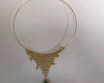 Handmade Gold Tone Choker with Faux Turquoise charm