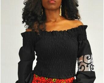 Black Asymmetric Off Shoulder Long Sleeve Top, Black Bishop Sleeve Top, Black Shirred Top - One Size