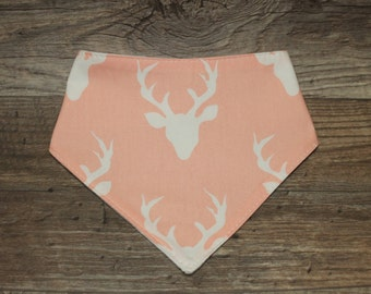 Bandana Bib | Buck | Bibdana | Deer | Antlers | Teething | Baby | Pink | Drool Bib | Kenton Creations | Perfect Gift | Handmade in Canada