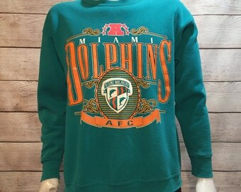 Rare Vintage NFL Football Miami Dolphins Crewneck Sweatshirt by Nutmeg