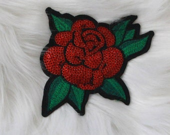Single Rose with sequins DIY Iron-on Embroidered Patch!