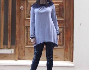 NEW Sexy Gray Extravagant Top / Black Lace Collar Loose Tunic / Soft Cotton Asymmetric Elegant Tunic