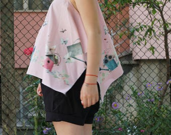 Floral Garden Print Top | Summer Baby Pink Top | Asymmetric Loose Fit Top | Short Wide Sweet Top | Excentric Design Top