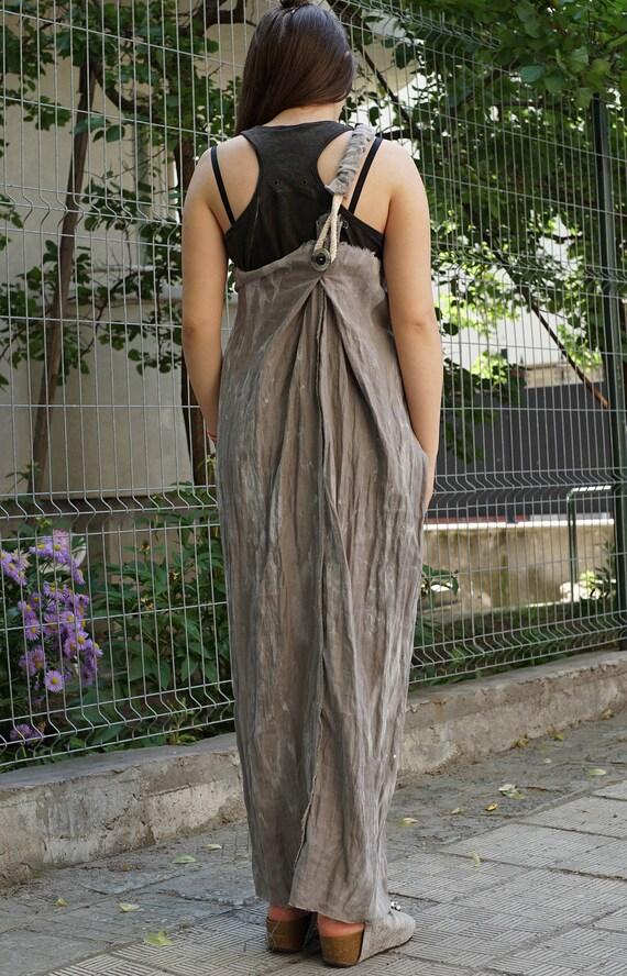 Lagenlook Maxi Linen Pinafore Dress | Beige Smock Dress | Robe Stripe Pinafore | Long Summer Dress | Baggy Asymmetric Pinafore Loose Fit
