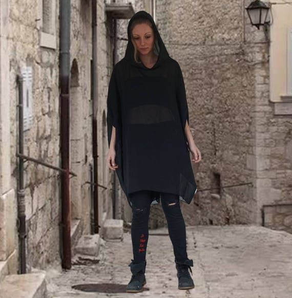 Oversized Black Shiffon Dress Tunic, Short Abaya Dress Top, Caftan Tunic, Asymmetric Extravagant Hoodie, Hooded Extra Loose Dress Tunic