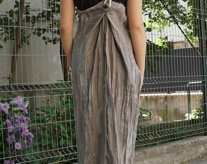 Lagenlook Maxi Linen Pinafore Dress   Beige Smock Dress   Robe Stripe Pinafore   Long Summer Dress   Baggy Asymmetric Pinafore Loose Fit