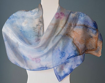 Hand painted pure silk scarf, unique model, BLUE WATERCOLOR SKY