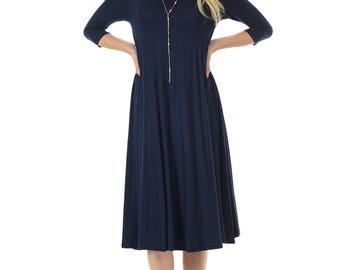 A-Line Trapeze Midi Dress Navy