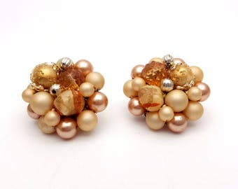 Vintage Clip On 50s Earrings Floral Cluster of Beige Clear Beads & Faux Pearls Stud Signed Japan Retro Mod Wedding Jewelry Classic Feminine
