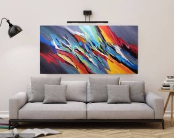 Large Colorful Abstract Painting on Canvas, Original Acrylic Artwork, Impasto Painting,  Colorful Wall Art Canvas, Contemporary Modern Art