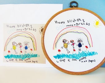 Your Childs Drawing into Hand Embroidery Hoop Art / Grandparent Gift From Children, Gift For Mummy, Daddy Gift, Kids Artwork, Gift From Kids