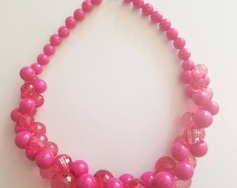 Classic 1960's/1970's Fashion Jewelry - Hot Pink Geometric Bubble Ball Statement/Bib/Beaded Necklace - Beautiful Condition! Shiny and Bright