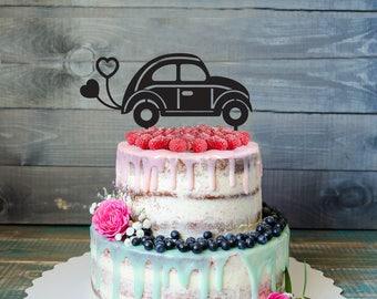 Newlyweds cake topper, wedding cake topper,custom wedding cake topper, car Wedding Cake Topper, custom cake topper