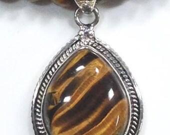 Tiger Eye Sterling Silver Necklace
