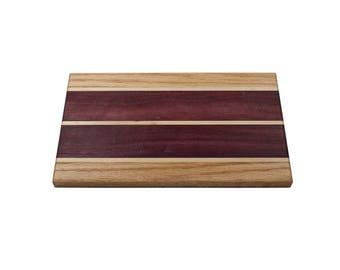 Cutting Board made of Oak, Purple Heart and Maple Cutting Board, Cheese tray, Serving board