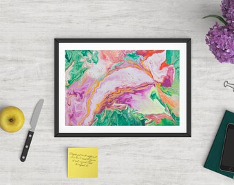 Abstract art print, glicee quality, limited edition, contemporary, Green, purple, magenta, orange