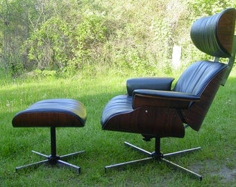 Vintage 1960s chair, rosewood lounge chair, 60s chair and ottoman, Mulhauser, Eames era, mid century modern