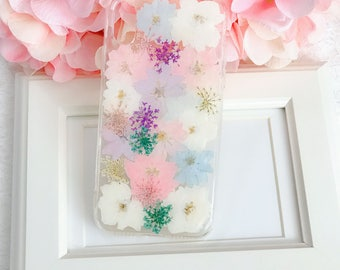 For iphone 10 Handmade pressed flowers Bling sparkle cellphone Silicone soft case for iphone 10 iphone X colorful case cover