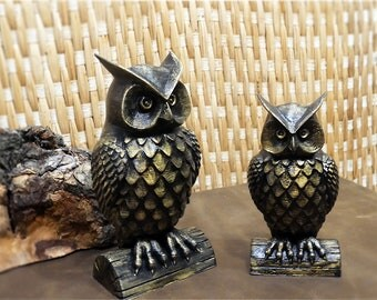 Bronze Owl Figure, 3D Decor, Children's room decor. Animal. Sculpture, Made in 3d Printer. Home disign