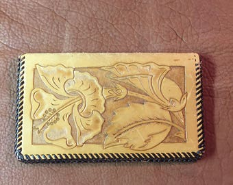 Hand Tooled Leather Wallet Checkbook