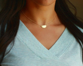 Half Moon Necklace | Moon Necklace Gold | Half Circle Necklace | Personalized choker Gold, Initial choker | Engraved Semi Circle Necklace