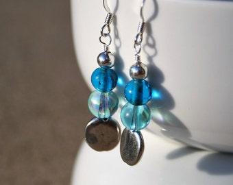 Blue Beaded Dangle Earrings, Blue Dangle Earrings, Silver Beaded Earrings, Beaded Earrings, Blue Beaded Earrings, Blue & Silver Earrings