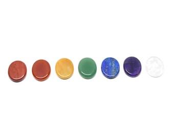 7 Palm Stones Healing Crystals and Stones Chakra Set, Rainbow Tumbled Crystal Chakra Palm Stones, Seven Palm Stone Crystals For Each Chakra