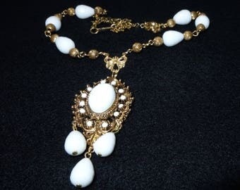 Victorian Revival Milk Glass Filigree Pendant and Faceted Bead Lavalier Necklace