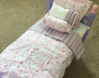18 Inch Doll Bedding / Unicorn 4 Piece Bedding Set / Unicorn Bedding Designed for dolls like American Girl® doll and Wellie Wishers doll™