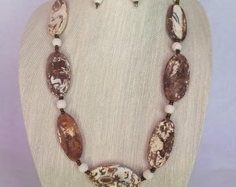 Agate & Lava Necklace Earring Set