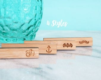 Handcrafted Bamboo Wood Bar Tie Clips