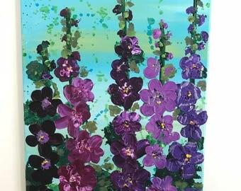 Purple Hollyhocks