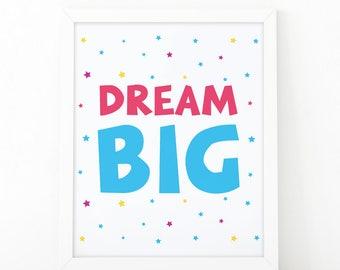 Dream big, Nursery printable, Kids room decor, Nursery decor, quote nursery, cute printable art, Kids wall art, colorful nursery printable