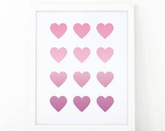 Hearts, pink purple, wall Art Print, Instant download, Nursery print, Kids Print, Nursery Decor, Hearts print, Girls wall art, love print