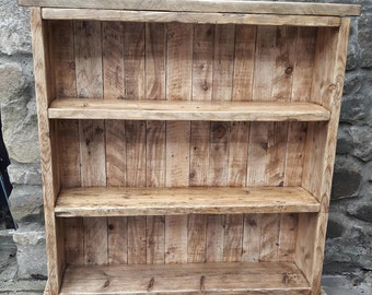 Handmade rustic bookcase shelves with taperd feet shabby chic