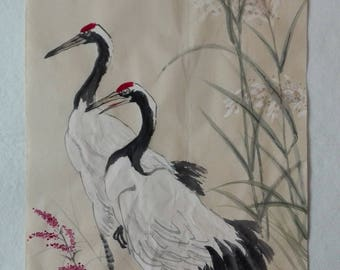 Traditional Chinese Painting, Original Painting, red-crowned crane, bird couple, Ink Painting, Study Decoration, reeds