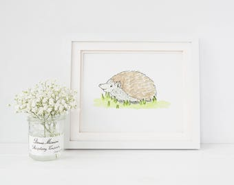 Hedgehog Handmade Watercolor Painting Woodland Nursery Decor Nursery Wall Art Whimsical Art Illustration Art Children's Artwork Nusery Print