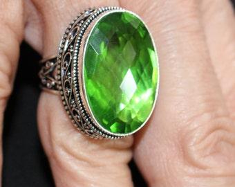 Lime Green Quartz Ring- size 7.5!