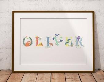 Custom Baby Name Print, Personalised Baby Name, Animal Illustration, Nursery Wall Art