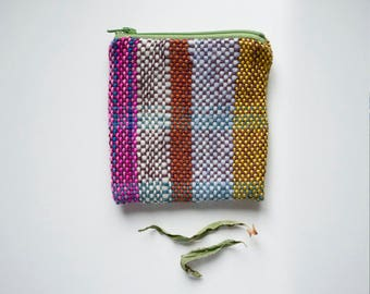 World of Color - Folk Style woven zip purse rustic - Handwoven and Lined Zipper Coin Pouch - Moth and Rust Handmade in USA
