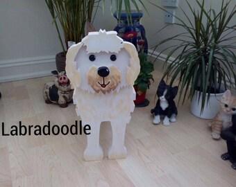 LABRADOODLE,wooden dog planter,garden ornament,