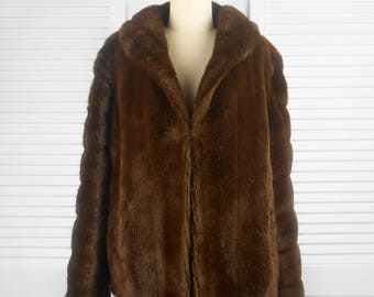 VINTAGE 60s or 70s Otex Brown Faux Fur Coat Jacket Australian Made