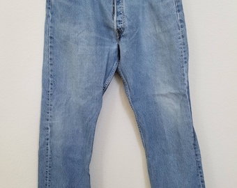 60s Vintage blue denim Levis 501 jeans 38 x 30 mod rockabilly