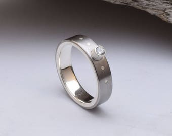 Womens wedding ring, titanium ring with a sterling silver liner, tube setting with a CZ stone, her unique wedding band women titanium band