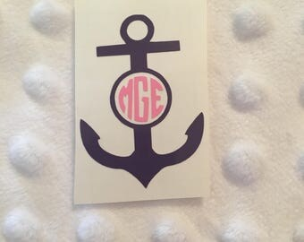 Anchor Monogram Decal - Car Vinyl Decal - Gift Monogram Decal - Anchor Car Decal - Anchor Monogram Decal - Anchor Sticker