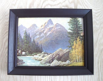Large Framed Print, Vintage Lithograph Wall Art, Mountain Landscape