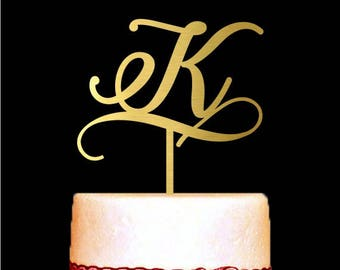 Monogram Wedding Cake Toppers with Your Single Letter Initial, Wedding Cake Toppers, Gold Letter Cake Topper, Custom Cake Topper