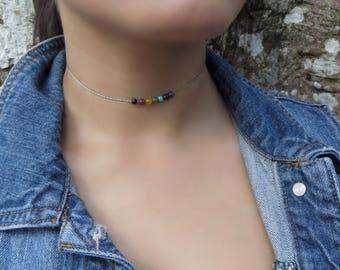 7 Chakra Necklace, Seven Chakra Necklace, Chakra Jewelry, Yoga Necklace, Yoga Jewelry, Delicate Choker, Dainty Choker, Minimalist Choker