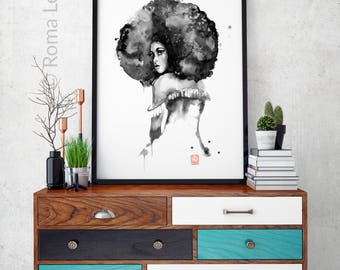Watercolor painting of an African woman Modern painting Jazz wall art afro woman drawing afro woman tattoo Home decor Large poster Art print